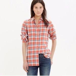 Madewell Sz Sm ex-boyfriend shirt in orange plaid